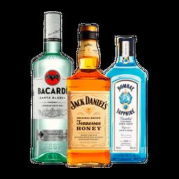Ron Bacardi Sup. + Ginebra Bombay  + Whisky Jack Daniel´S  Honey
