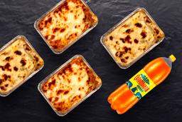 4 Lasagnas más Gaseosas Litro