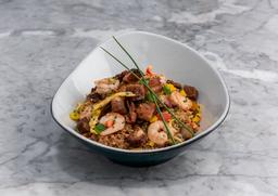 Arroz de cerdo y camaron al wok