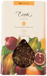 Barra 82% Cacao con Nibs de Cacao, Naranja y Granada.