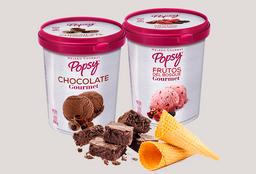 combo 2 litro de helado con conos y brownie