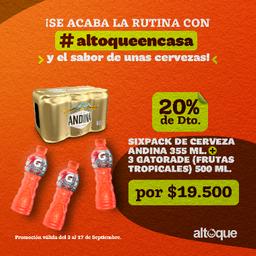 Combo Sixpack Andina y 3 Gatorade Frutos tropicales 500 ml