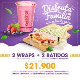 2 Wraps + 2 Batidos