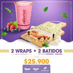 2 Wraps + 2 Batidos Grandes