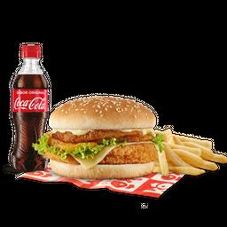 Promo hamburguesa apanada en combo