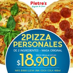 2 Pizzas Premium Personales - Masa Original