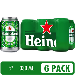 Cerveza Heineken Six Pack - Cerveza Premium 6 latas de 330 ml