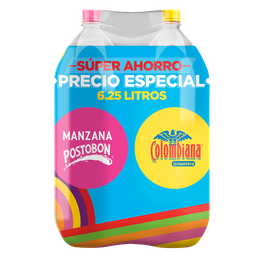 Gaseosa Duopack Manzana + Colombiana pet x 3125 ml