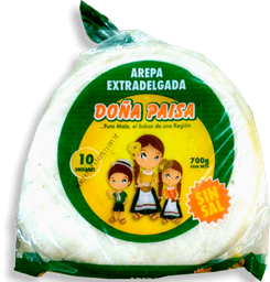 Arepa Extra Delgada sin Sal  Doña Paisa