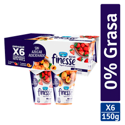 Yogurt Finesse Fresa- Melocoton 150 g x6