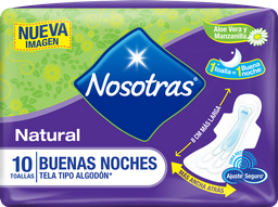 Toal. Hig. Nosotras Natural Buenas Noches Tipo Tela x 10und
