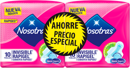 Toallas Higiénicas Nosotras Invisible Rapigel 2paq x 10und