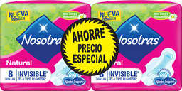 Toallas Hig. Nosotras Natural Invisible Tela 2paq x 8und