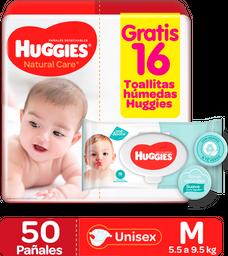 Pañales Huggies Natural Care Etapa 2/M, 50Ud