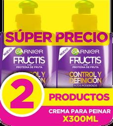 Pack x 2 Crema Para Peinar Fructis Control Y Definición 300 Ml