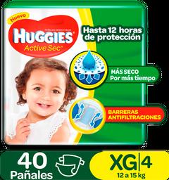 Pañales Huggies Active Sec Etapa 4/XG, 40Uds