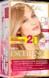 Tinte Excellence Rubio Muy Claro Cenizo 9.1 Doble Tubo  X47Gr