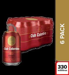 Cerveza Club Colombia Roja - Lata 330ml x6