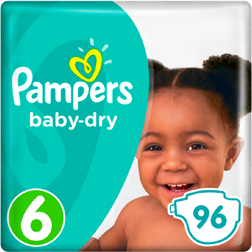 Pañales Pampers Baby Dry Talla 6 - 96u