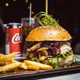 Onions & mushrooms swiss burger