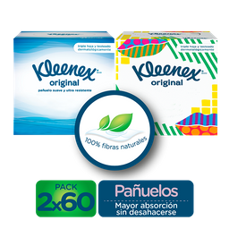 Kleenex Pañuelos Faciales en Cubo Original 120 Uds