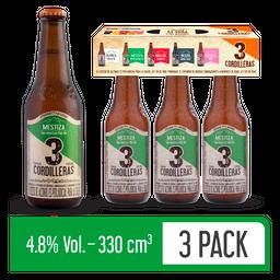 Cerveza Mestiza 3 Cordilleras - Cerveza Artesanal 3 Pack 330 ml