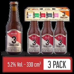 Cerveza Mulata 3 Cordilleras - Cerveza Artesanal 3 Pack 330 ml