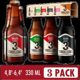 Cerveza Artesanal 3 Cordilleras - 3 Pack Surtido de 330 ml
