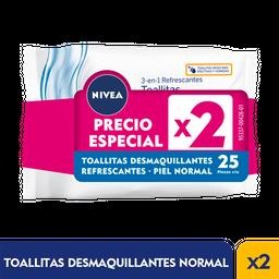 Nivea Face Toallitas Desmaquillantes piel normal 25und X 2