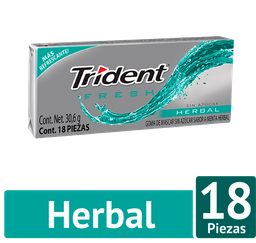 Trident Chicle Sin Azúcar Sabor Fresh Herbal Pack