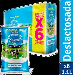 Leche Deslactosada Alpina X 6 Bolsa X 1100Ml C/U