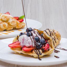 Bubble Waffle Fresas y Aranda