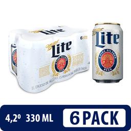 Cerveza Miller Lite Six Pack - Cerveza Light 6 Latas