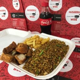 Chicharrón de cerdo + arroz + papas