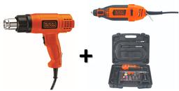Pistola Calor + Kit Mototool 110 Accesorios Black+Decker