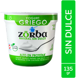 Yogurt Griego Natural Sin Dulce  Zorba 135G