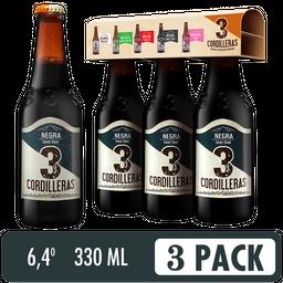 Cerveza Negra 3 Coordilleras - Cerveza Artesanal 3 Pack 330 ml
