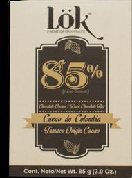 Barra De Chocolate Lok 85% Origen Colombia 85 G