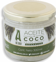 Aceite De Coco Virgen Orgánico 300 Ml