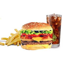 Combo Hamburguesa doble carne + Papas + Gaseosa