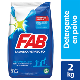 Detergente Fab Polvo Lavado Perfecto 2Kg