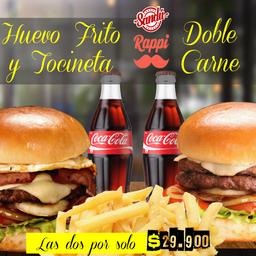 2 hamburguesas en combo: Huevo frito con tocineta y Doble carne