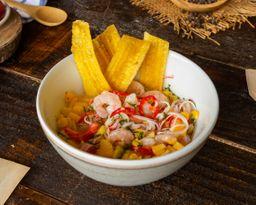 Ceviche de Camarones y Palmitos