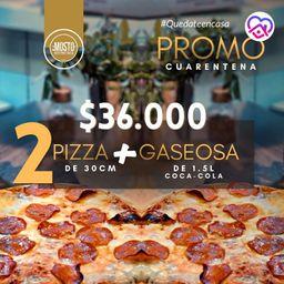 2 pizzas de peperonie y gaseosa 1.5 L