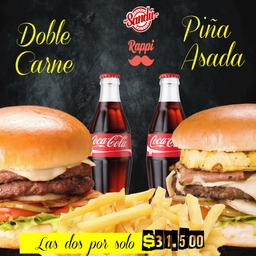 2 Hamburguesas en combo: Piña asada y Doble carne