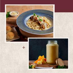 Pasta Involtini Pollo + Jugo Bahamas
