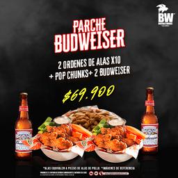 Parche Pa'Compartir 20 Alas + Pop Chunks + Papas + 2 Budweiser