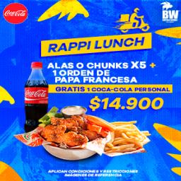 RappiLunch: Alas o Chunks + Papas + Coca-Cola gratis
