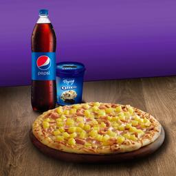 Pizza con Gaseosa y Helado
