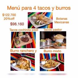 Combo para papá de 4 Tacos y Burros